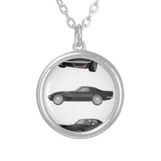 Black 1970 Corvette: Round Pendant Necklace