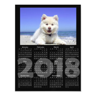 Black 2018 Calendar Magnetic Photo Card