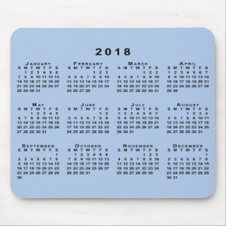 Black 2018 Calendar on Customizable Light Blue Mouse Pad