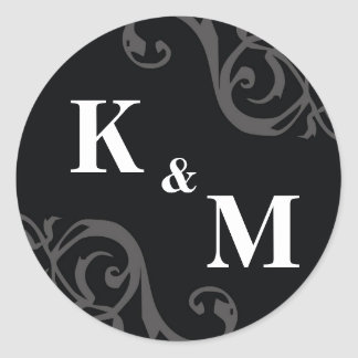 Black 2 initial letter monogram favor tag seal classic round sticker
