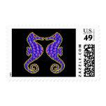 Black 2 Seahorses Postage Stamp
