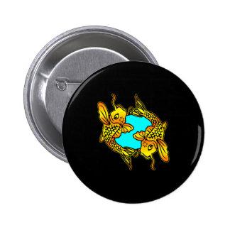 Black 2 Traditional Koi Fish Tattoo 2 Inch Round Button