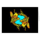 Black 2 Traditional Koi Fish Tattoo Card