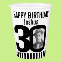 Black 30th birthday custom photo paper cups