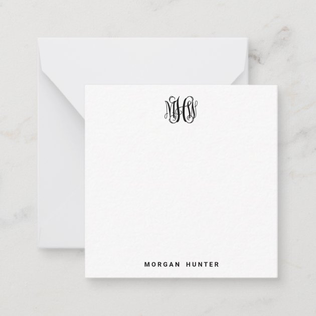 Fancy Initial~Monogram Initial and Name Note Cards