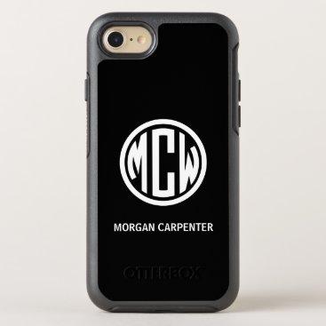 Black 3 Initial White Circle Monogram Font DIY BG OtterBox Symmetry iPhone 8/7 Case