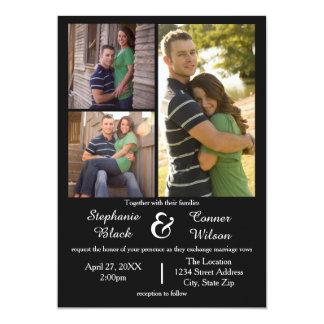 Black 3 Photos - Wedding Invitation