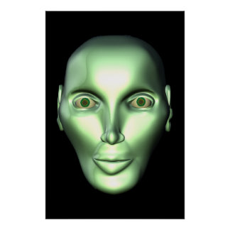 Black 3D Alien Head Extraterrestrial Being Poster