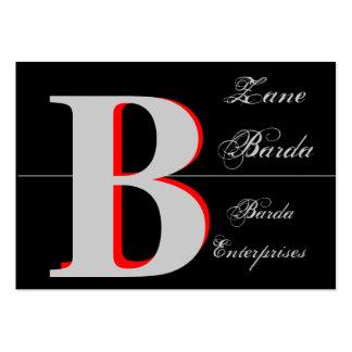 Black 3D Monogram Generic 2 Large Business Cards (Pack Of 100)