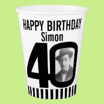 Black 40th birthday custom photo paper cups
