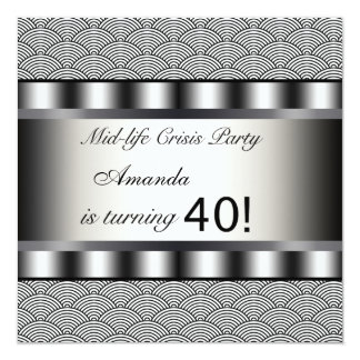 Black 40th Birthday Party Invitation