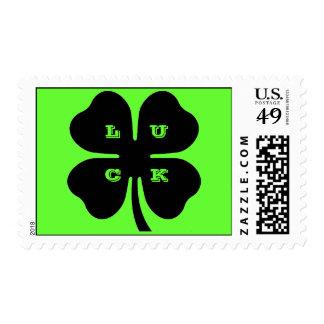 Black 4 Leaf Clover on Green Postage