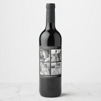 Black 4 Photo Collage Wedding Wine Label