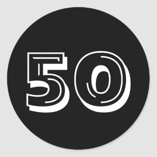 Black 50th Birthday - 50 Years Bday Stickers