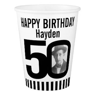 Black 50th birthday custom photo paper cups paper cup