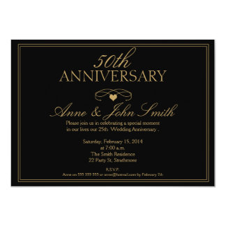 Black 50th Wedding Anniversary Invitation