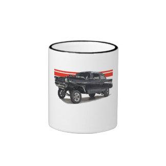 Black '57 Bel Aire post gasser on two tone mug