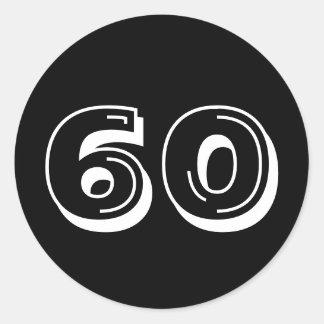 Black 60th Birthday Classic Round Sticker