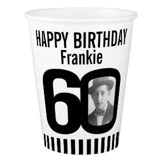 Black 60th birthday custom photo paper cups