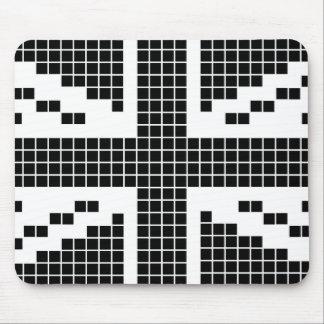 Black 8-bit Pixels Union Jack British(UK) Flag Mouse Pad