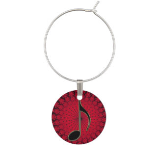 Black 8th Note on Red Star Fractal Wine Charm