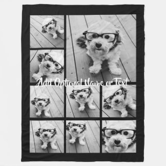 Black 9 Photo Instagram Collage --- CAN edit COLOR Fleece Blanket