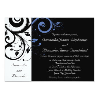 Black aand White with Periwinkle Swirl 5x7 Paper Invitation Card