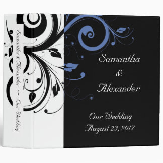 Black aand White with Periwinkle Swirl 3 Ring Binder