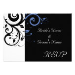 Black aand White with Periwinkle Swirl Personalized Invite