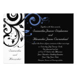 Black aand White with Periwinkle Swirl Custom Announcements
