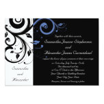 """Black aand White with Periwinkle Swirl 5"""" X 7"""" Invitation Card"""