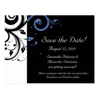 Black aand White with Periwinkle Swirl Postcard