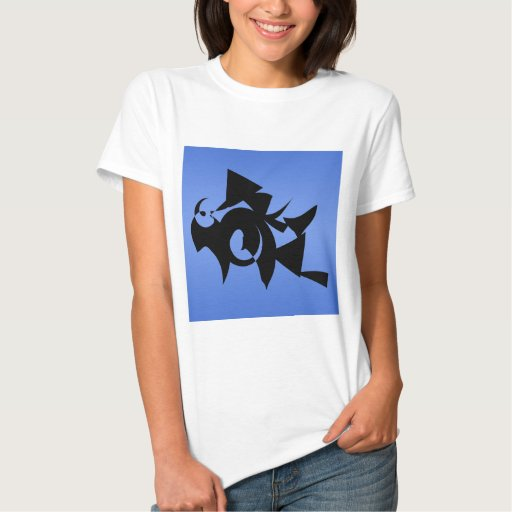 Black Abstract Design on Blue. Tee Shirt