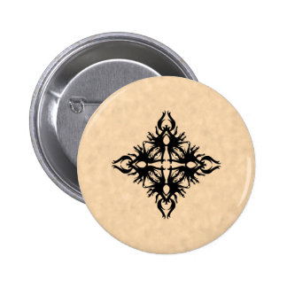 Black Abstract Design on Parchment Effect Pattern 2 Inch Round Button