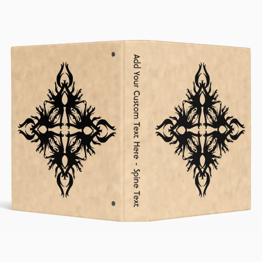 Black Abstract Design on Parchment Effect Pattern 3 Ring Binder