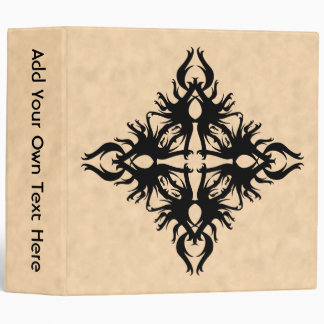 Black Abstract Design on Parchment Effect Pattern Binder