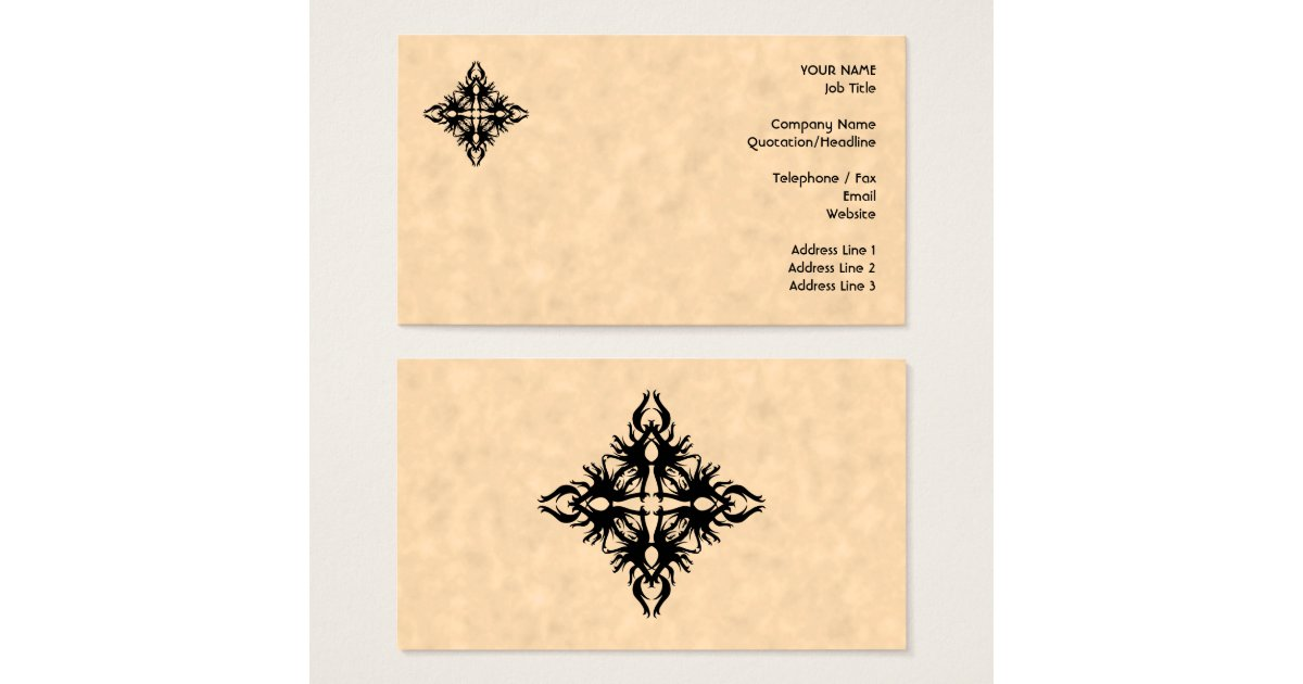 Black Abstract Design on Parchment Effect Pattern Business Card ...