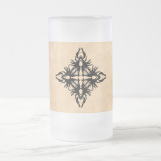 Black Abstract Design on Parchment Effect Pattern Frosted Glass Beer Mug
