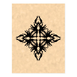 Black Abstract Design on Parchment Effect Pattern Postcard