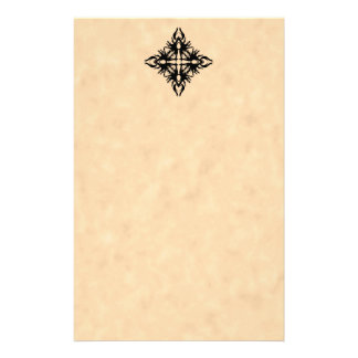 Black Abstract Design on Parchment Effect Pattern Stationery