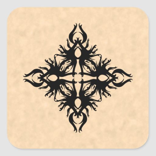 Black Abstract Design on Parchment Effect Pattern Square Stickers