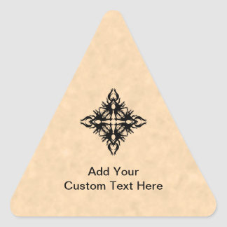 Black Abstract Design on Parchment Effect Pattern Triangle Sticker