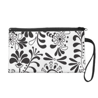 Black abstract flowers on white wristlet