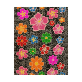 Black Abstract Flowers Wood Wall Art
