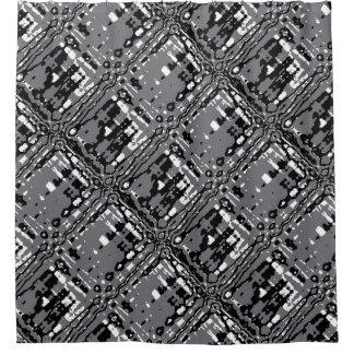 Black Abstract Grid Shower Curtain