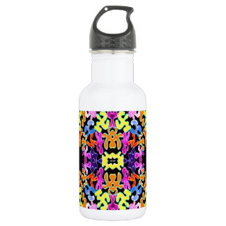 Black Abstract Jigsaw 18oz Water Bottle