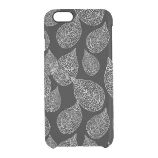 Black Abstract Leafs Over Changeable Background Clear iPhone 6/6S Case