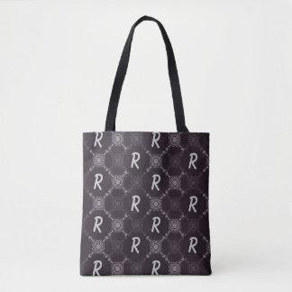 Black Abstract Pattern Monogram Tote Bag