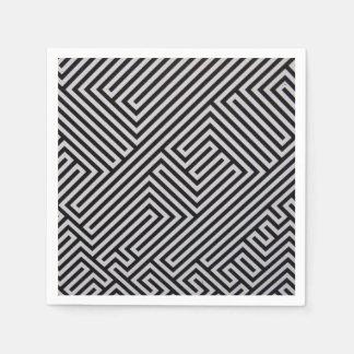 Black Abstract Pattern Napkins Standard Cocktail Napkin