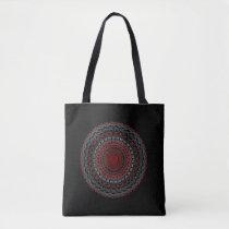 Black abstract shoulder cloth bag red